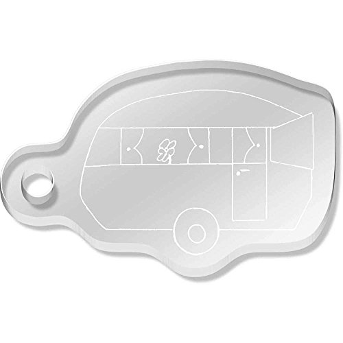 'Static Caravan' Shaped Engraved Keyring - Sizes Uk Caravan