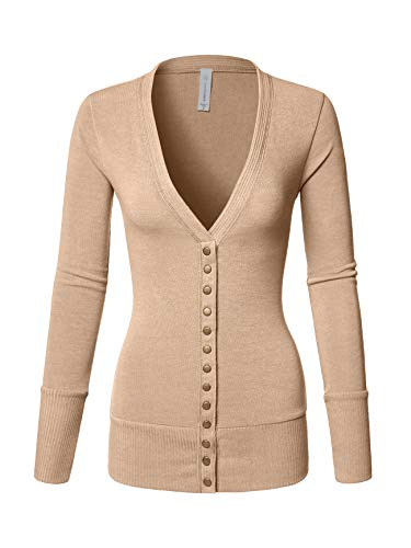 - Luna Flower Women's V-Neck Snap Button Long Sleeve Soft Basic Knit Snap Cardigan Sweater Heather_Beige Large (GCDW027)