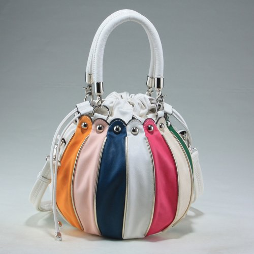 Dasein Balloon inspired fashion bag w/ attachable shoulder strap -White/Multicolor, Bags Central