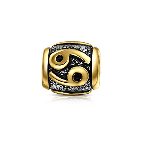 Bling Jewelry Cancer Charm Gold Plated 925 Sterling Silver Zodiac (Cancer Charm Gold Plated)