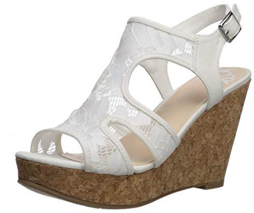 Fergalicious Women's Kenzie Wedge Sandal, White, 12 M US -