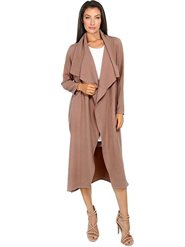 Satin Trench Jacket - Verdusa Women's Casual Long Sleeve Lapel Outwear Duster Coat Cardigan Dark Blush S