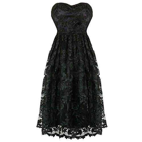 Hearts & Roses Londres Encaje Negro Victoriano Gótico Steampunk Vintage Vestido de Fiesta: Amazon.es: Ropa y accesorios