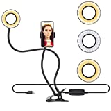 Selfie Ring Light with Cell Phone Holder Stand for Live Stream/Makeup, Bcway Clip Lazy Bracket for iPhone/Android, [3-Light Mode] [10-Level Brightness] LED Desk Lamp for Kitchen, Bedroom
