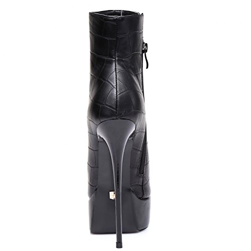 GIARO - Damen Plateau Ankle Boots - Schwarz Schuhe in Übergrößen