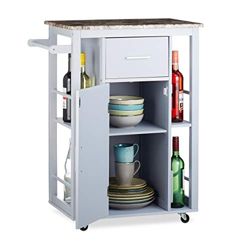(Relaxdays Kitchen Trolley with Shelves, Stone-Look Countertop, 360° Casters, Drawer, Pine Wood, Engineered, Grey, HWD: 86x66.5x40 cm)