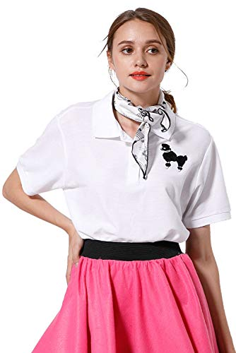 Paniclub Womens 1950s Skirt Poodle Printed Shirt Pink Dress with Musical Note Scarf,Shirt,XLarge]()