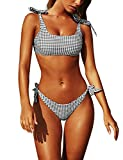 Blooming Jelly Womens Two Piece Swimsuits Tie Knot Padded Push Up Brazilian Thong Cheeky Bikini Set(M,Gingham)