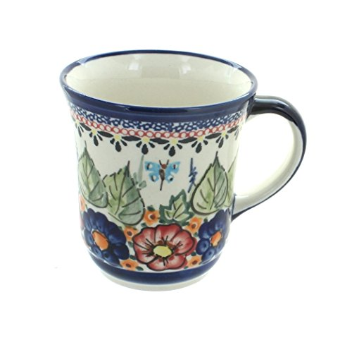Blue Rose Polish Pottery Floral Butterfly Ladies Mug
