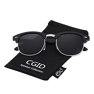 CGID GD58 Al-Mg Alloy Clubmaster Polarized Sunglasses UV400,with Metal Rivets