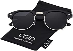 CGID Inspired Half Frame Horn Rimmed Polarized Sunglasses for Men and Women with Metal Rivets