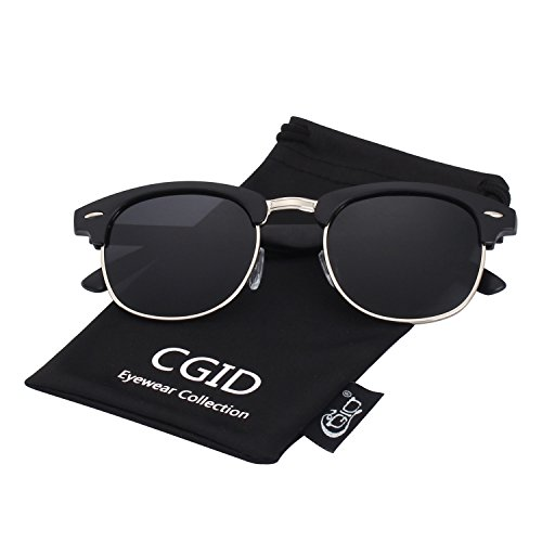 CGID Clubmaster Premium Classic Inspired Half Frame Horn Semi-Rimless Rimmed Sunglasses with Metal Rivets,Matte - Women Rimless Frames For Semi