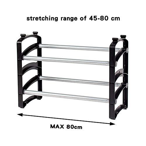 Lomani Expandable 8-Pair Shoe Rack Organizer, Stackable & Adjustable 2-Tier Shoe Shelf Organizer for Entryway, Living Room, Bedroom, Closet (18