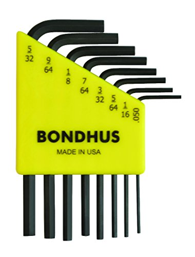Bondhus 12232 Set of 8 Hex L-wrenches, Short Length, sizes .050-5/32-Inch