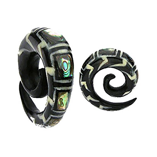 MsPiercing Spiral Organic Buffalo Horn Taper With Abalone Inlay, Gauge: 2 (6.5Mm)