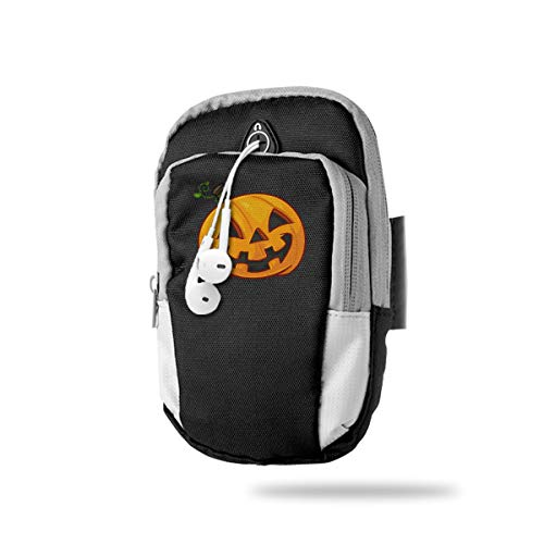 XUDONGXU Cell Phone Armband Case Holder Pumpkin Face Halloween Phone Holder Pouch with Adjustable Velcro & Key Holder to Hold Money, Cards and Keys for Running & Working Out, Walking, Hiking