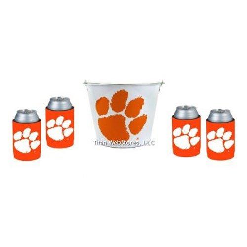 Clemson Bucket Ice (NCAA Clemson - Beer Bucket & Neoprene Can Insulator (4) Set | Clemson Tigers Beer Bucket Gift Set)