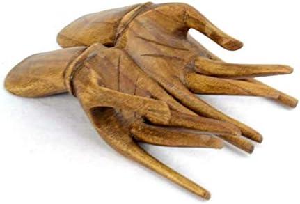 Mains porte-bagues cartes bois massif teinte marron chocolat