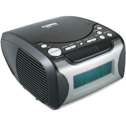 - NAXA Electronics NRC-175 Digital Alarm Clock Tuning AM/FM Radio and CD Player - Black Lacquer