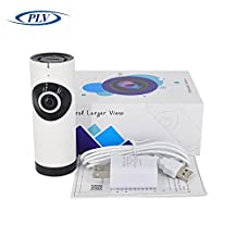 PLV Mini Wireless 720P IP Camera Indoor,180 Degree Panoramic Wifi Baby Monitor Remote Home Security Camera Nanny Camera (White)