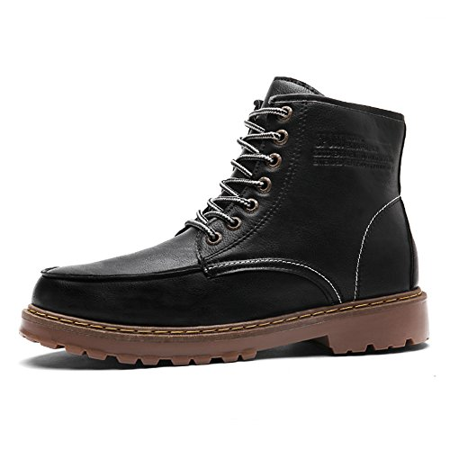 Black Up Leather Mens Lace Shoes Work Boots Waterproof For Combat aTawnOq7