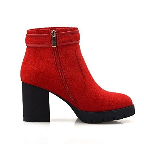 AllhqFashion Damen Hoher Absatz Gemischte Farbe Rund Zehe Mattglasbirne Schnüren Stiefel, Weinrot, 41