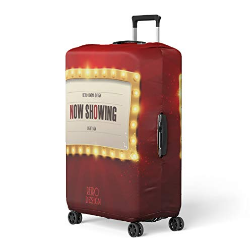 Pinbeam Luggage Cover Colorful Bulb Retro Light Sign Vintage Cinema Show Travel Suitcase Cover Protector Baggage Case Fits 18-22 inches]()