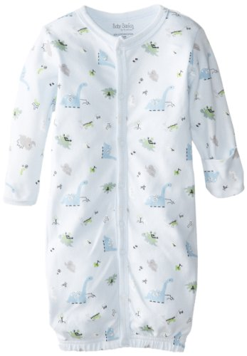 Kushies Baby-Boys Newborn Dinosaurs Convertible Gown, Blue Dinosaurs, 3-6 Months (Small)