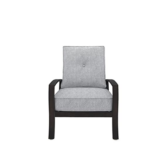 Ashley Furniture Signature Design - Castle Island Outdoor Lounge Chair with Cushion - Rust-Proof - Dark Brown & Gray - OUTDOOR LOUNGE CHAIR: Bring modern appeal to your deck with this clean-lined beauty. Whether you use it to sunbathe or have as table seating, it's an always-trendy addition to your decor DURABLE DESIGN: Made with an all-weather, rust proof aluminum frame. Zippered cushions are covered in high-performing Nuvella polyester with Velcro ties CONTEMPORARY STYLE: The thick, plush light gray cushions are full of texture and easy-breezy style. Go ahead—relax and enjoy the modern design - patio-furniture, patio-chairs, patio - 41UfPhJHuML. SS570  -