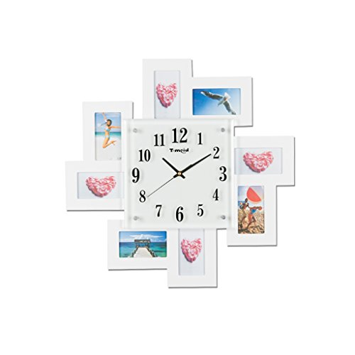 TIANTA-wall clock 20 inch European personalized creative photo frame bedroom living room wall clock ( Color : White )
