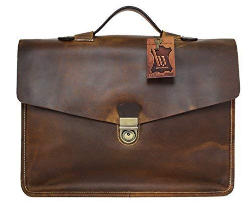 Briefcase Genuine Leather Satchel for Men Women Laptop Bag 15.6-inch Large Capacity Vintage by Corno d´Oro brown Miami
