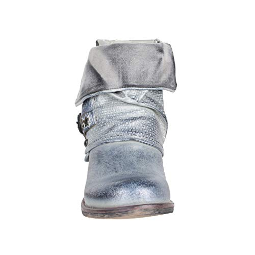 Biker Donna Comodo Argento Print Rivetti Ryan Stivaletti Chunky Elara Boots Metallic tfqPta