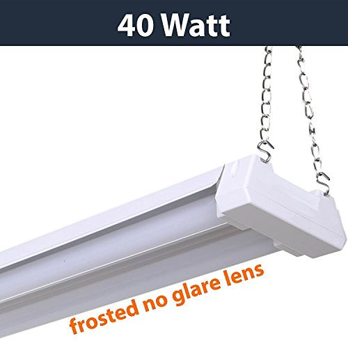 hop Light-40W, 4000K, Non-Linkable, Frosted Lens, 4100 Lumen, Replaces 4 Foot Fluorescent, Garage Shoplight Ceiling Fixture, Pull Cord Chain, Plug In (Fluorescent Utility Lights)