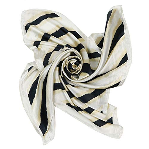 Danyerst Women Stripe Square Scarf, Imitation Silk Decorative Neck Shawl Handbag Neckerchief Headwrap 60x60cm]()
