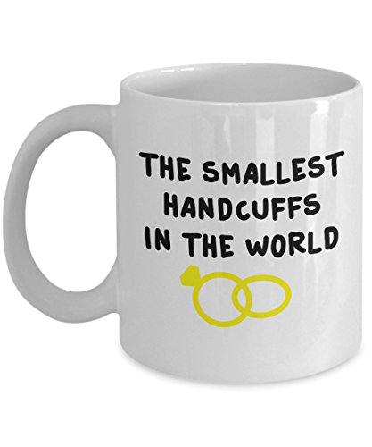 The smallest handcuffs in the world Engagement Ring Chain Linked Together Gift Souvenir Tea Cup Coffee Mug Hot Brewed 13/29 J