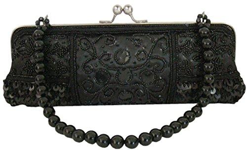 Damen Handtasche Abendtasche Clutch Unterarmtasche mit Perlen in Schwarz