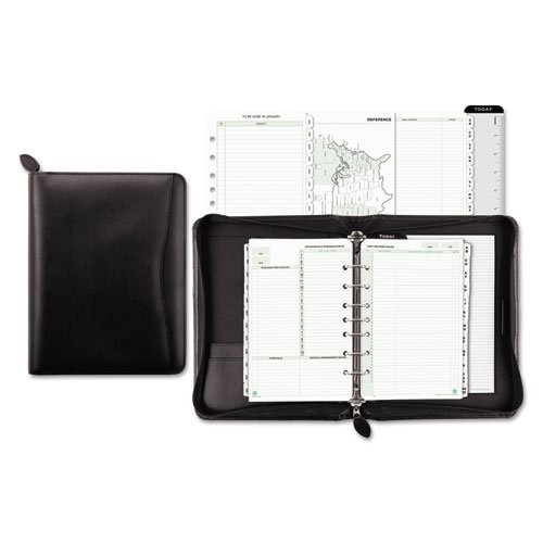 Day-Timer Recycled Bonded Leather Starter Set, Desk Size, 8-1/2 x 10-5/8'' Overall Size, Black (41745)