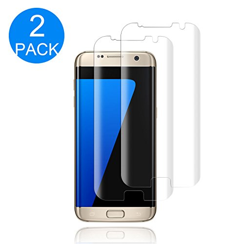 (2 PACK) Galaxy S7 Edge Tempered Glass Screen Protector, Fitquipment [Half Coverage] [9H Hardness]...