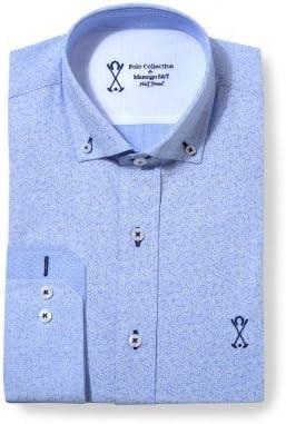 Camisa manga larga hombre SEMIENTALLADA ralla azul combinado
