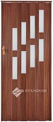 Plegable puerta corredera puerta con cerradura y ventana H 203 cm, madera de caoba, anchura 85 cm doble pared perfil nuevo: Amazon.es: Bricolaje y herramientas