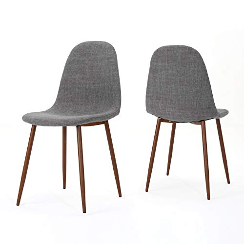 Christopher Knight Home Raina Dining Chairs, Light Grey + Dark Brown