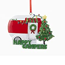 Happy Campers Red Retro Camping Trailer with Tree Christmas Ornament W8204 New
