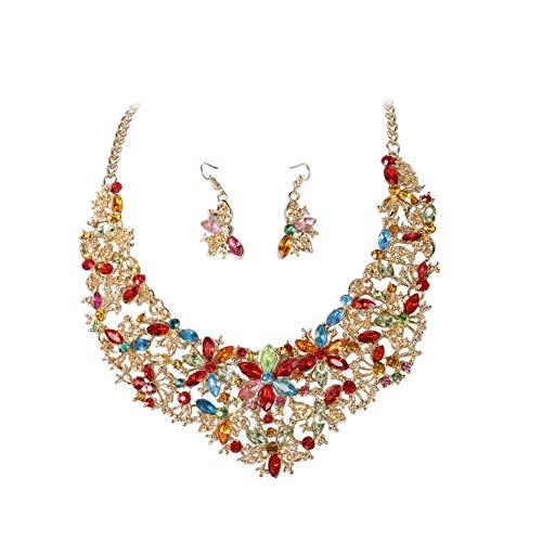 ORAZIO Rhinestone Statement Necklace Earring Set for Women Girls Bridal Bridesmaid Jewelry Sets for Wedding