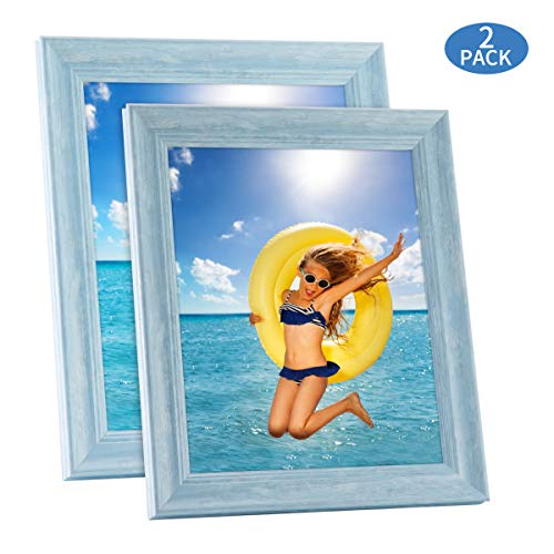 SunGlobal 8x10 Picture Frame Set of 2 Photo Frames Holder for Wall Desktop or Tabletop Display Home Decor for Poster Collage Diploma Certificate etc. (Blue)