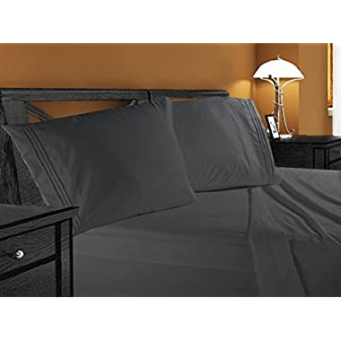 Clara Clark Premier 1800 Collection 4pc Bed Sheet Set - Queen Size, Charcoal Stone Gray,
