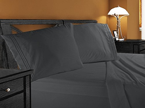 4pc Bed Sheet Set - Queen Size, Charcoal Stone Gray,