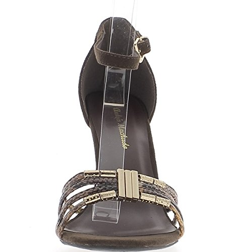 Gran tamaño marrón sandalias tacón 11cm ante y serpiente aspecto