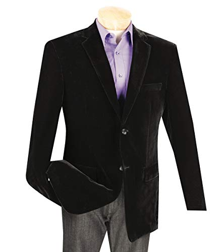 VINCI Men's Velvet 2 Button Classic-Fit Sport Jacket Blazer Black | Size: 2XL