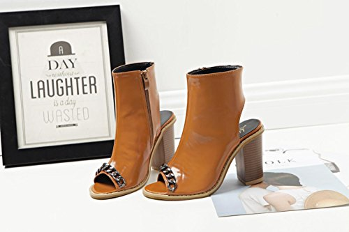 printemps amp; BROWN été Confort Casual bouche Carrière chaussures de 36 Cool mode Talons mxx Femmes Bureau bottes hauts LvYuan Robe sandales chaîne poissons 6gxI1txqw