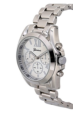 Holiday Gift Geneva Silver Tone Classic Round Men's Watch. Faux Chronograph Design. Metal Link Band.